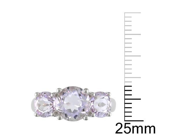 2 4/5ct TGW Rose de France 3 Stone Ring Silver