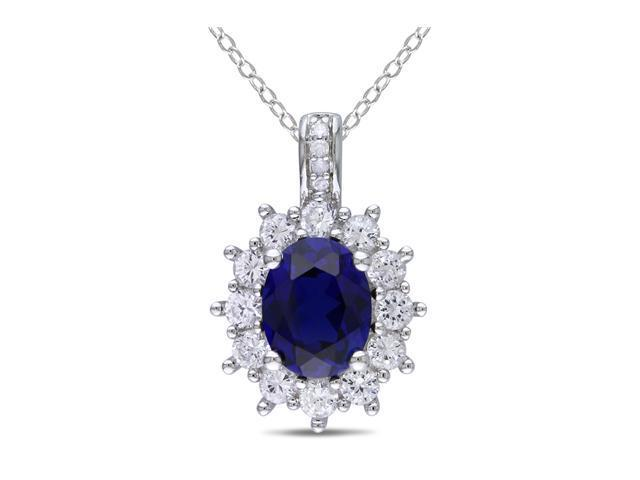Amour 0.02 ct.tw. Diamond And 4 CT TGW Created Blue and White Sapphire Fashion Pendant w/ Silver Chain GH I3