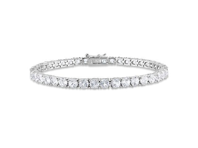 Amour Collections 14 1/4 CT TGW Created White Sapphire Bracelet Silver Length (inches): 7.25""