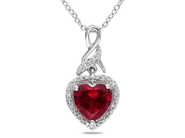 Amour Collections Diamond and Created Ruby Heart Pendant w/ Silver Chain