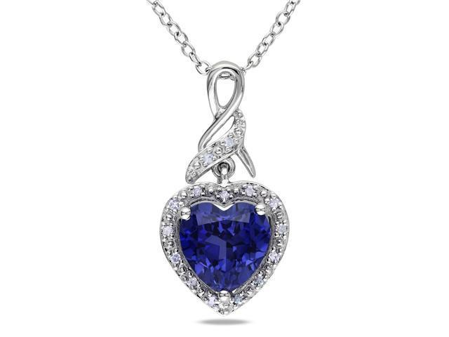 0.06 ct.tw Diamond & 2.25 ct.tgw Created Blue Sapphire Heart Silver Pendant w/ Chain GH I2;I3