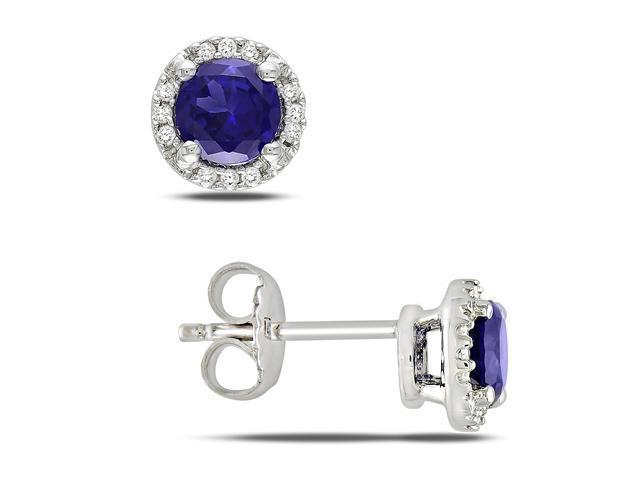 0.07 CT  Diamond TW And 1 1/6 CT TGW Created Blue Sapphire Ear Pin Earrings Silver GH I3