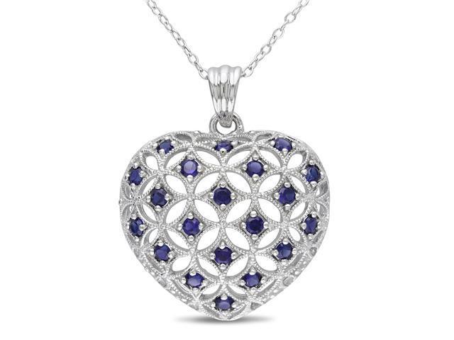 Amour Collections 1 Ct. TGW Heart Shaped Created Blue Sapphire Pendant w/ Silver Chain