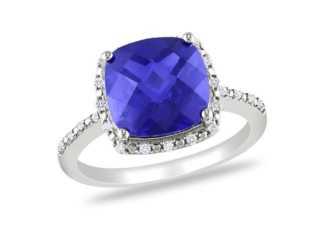 1/10 CT  Diamond TW And 5 3/4 CT TGW Created Blue Sapphire Fashion Ring Silver GH I2;I3