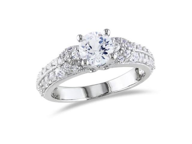 1 5/8 CT TGW Created White Sapphire Fashion Ring Silver