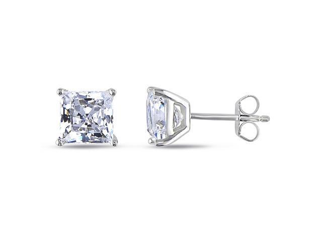 Sterling Silver 7mm Square Cubic Zirconia Solitaire 4-Prong set Earrings