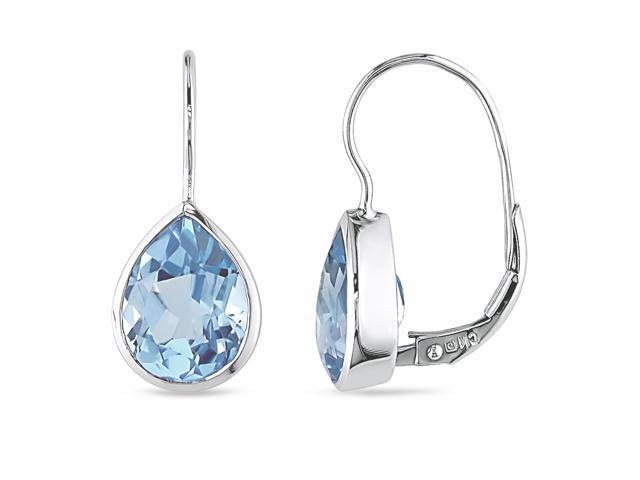 10K White Gold Blue Topaz Tear Drop Earrings