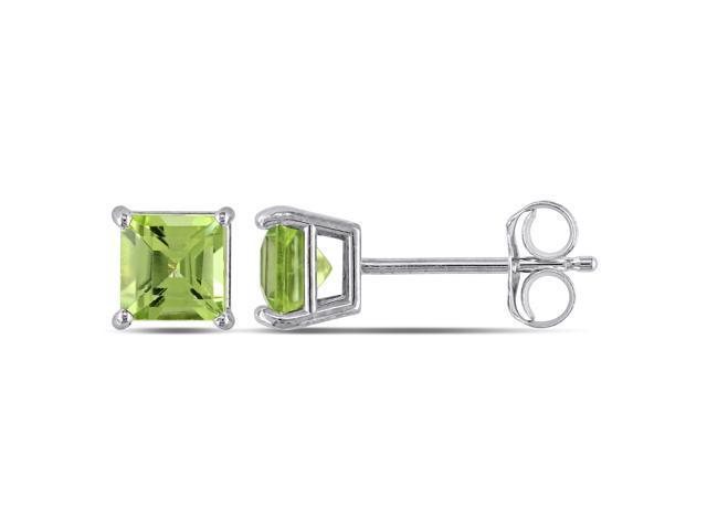 14k White Gold Square Peridot Stud Earrings