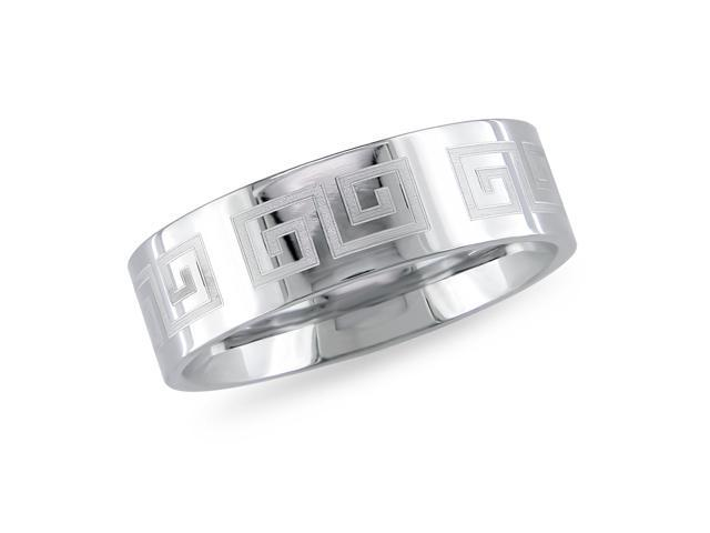 Stainless Steel Band Ring with Square Design