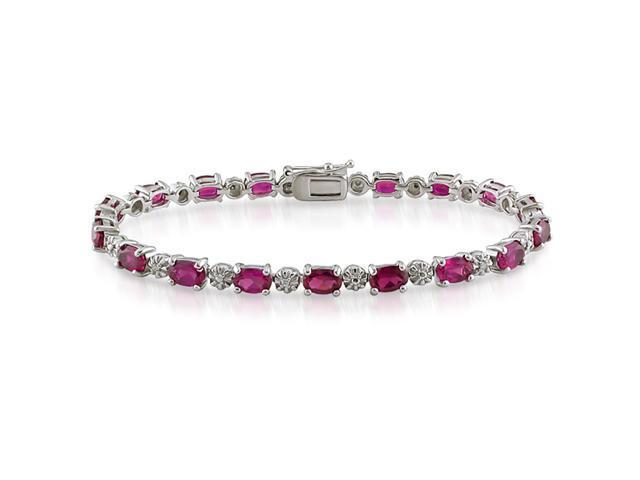 Silver Created Ruby and Diamond Tennis Bracelet
