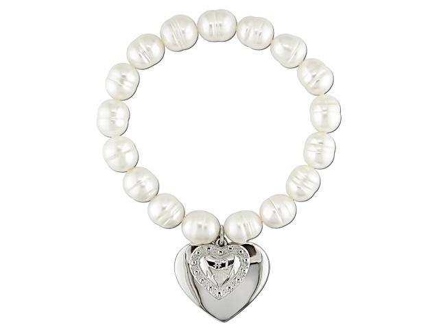 8-9mm Cultured Freshwater Natural Shape Pearl Heart Charm Elastic Bracelet, 7
