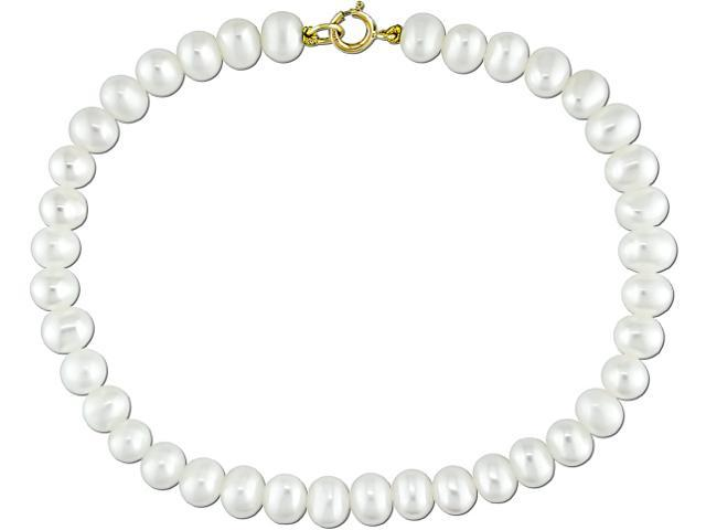 10k Yellow Gold 4-5mm Cultured Freshwater White Pearl Bracelet