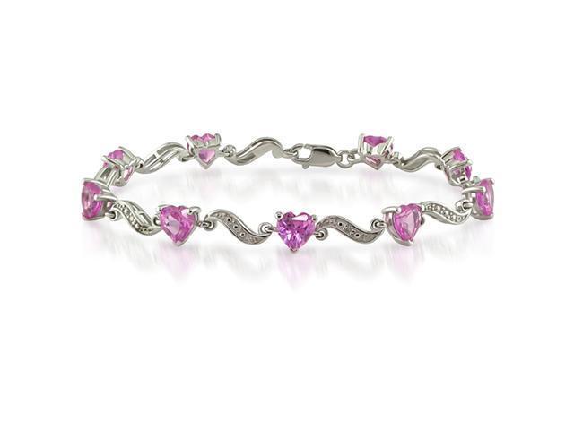 Silver Created Pink Sapphire and Diamond Bracelet