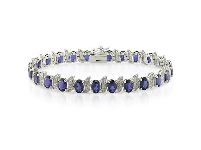 "7"" 13.5ct Sterling Silver Diamond and Created Sapphire Bracelet. 7"" TDW .03ct"