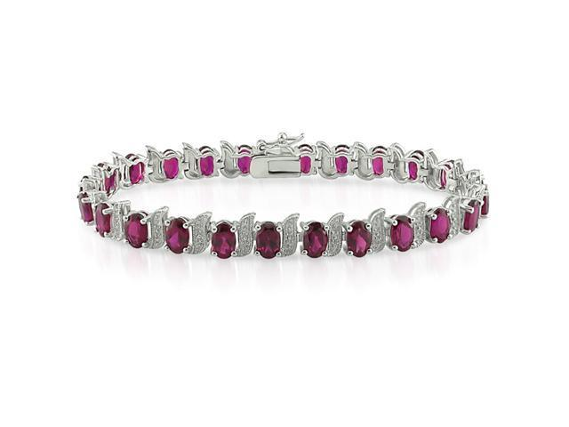 Amour Collections Silver Created Ruby and Diamond Tennis Bracelet