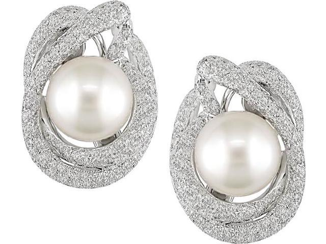 18k White Gold 4 1/3 Carat Diamond and 11-12mm South Sea Pearl Earrings (G-H,I1)