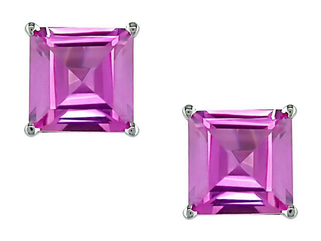 10k White Gold 2 1/2 Carat Princess-Cut Created Pink Sapphire Solitaire Earrings