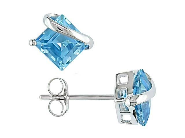 10K White Gold Blue Topaz Square Earrings