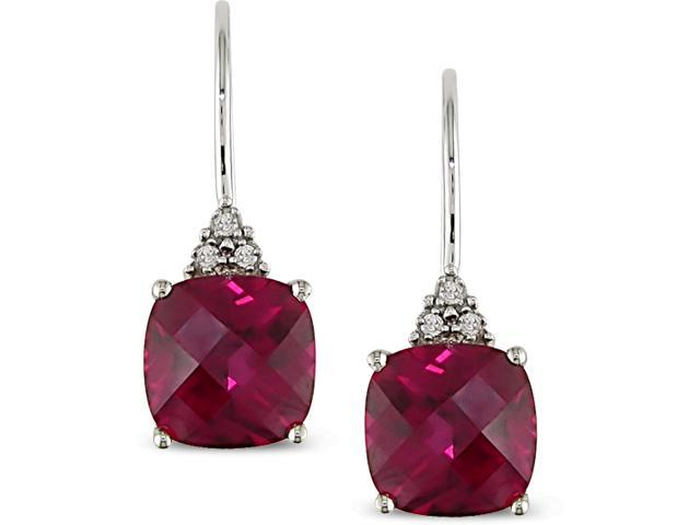 10k White Gold Diamond and Created Ruby Earrings