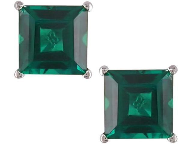 10K White Gold 1 3/5 Carat Princess Cut Created Emerald Solitaire Earrings