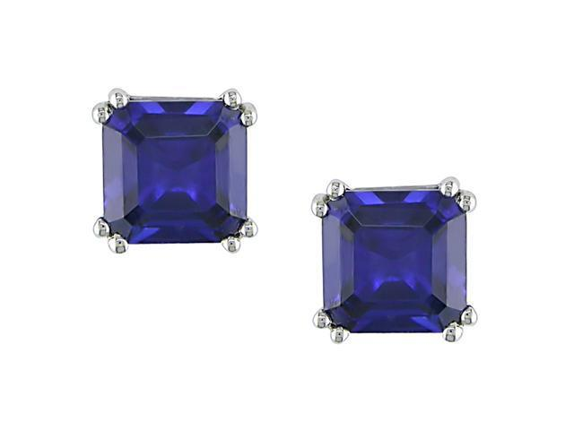 10k White Gold Created Sapphire Earrings