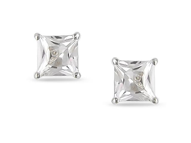 10k White Gold 1/2ct Solitaire White Sapphire Earrings.