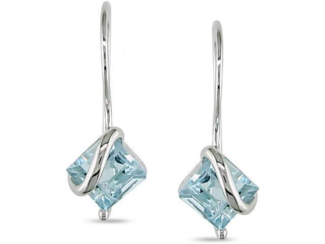 10k White Gold Blue Topaz Earrings