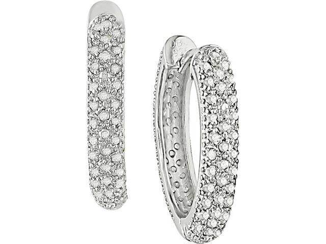 Sterling Silver 1/2ctw Diamond Hoop Earrings (G-H, I2-I3)