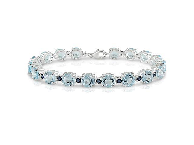 Amour Collections 30 Carat Blue Topaz and Blue Sapphire Bracelet in Sterling Silver