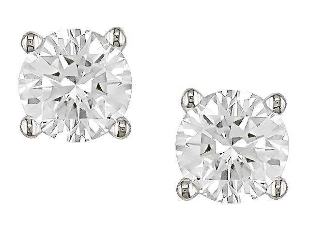 14K White Gold 1/3 ctw Diamond Solitaire Earrings