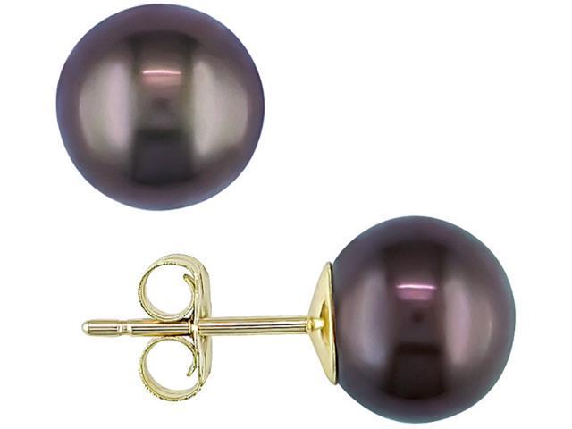 14K Yellow Gold 8-8.5mm Black Cultured Freshwater Pearl Stud Earrings