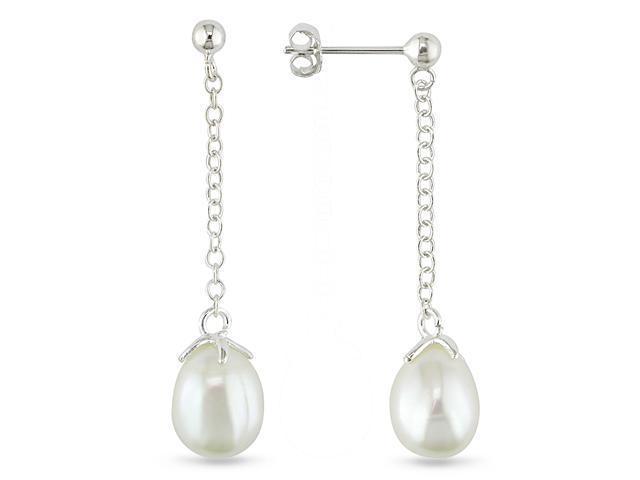 Sterling Silver drop pink 9-10mm  pearl earrings, with butterfly backs