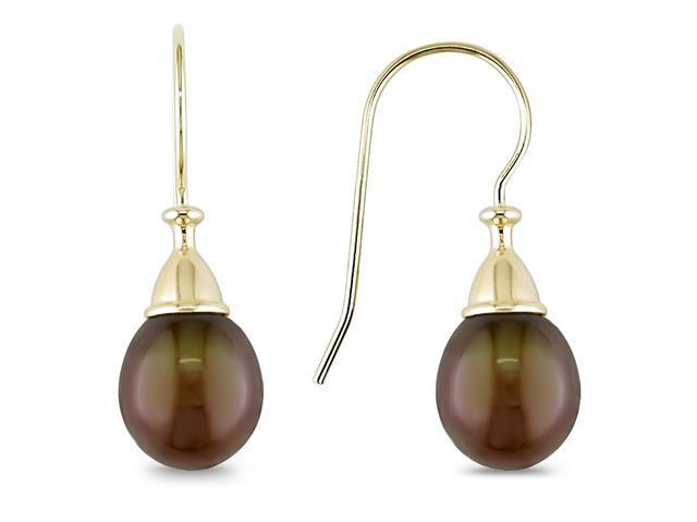 10k Yellow Gold 8-8.5mm Cultured Freshwater Chocolate Pearl Teardrop Earrings