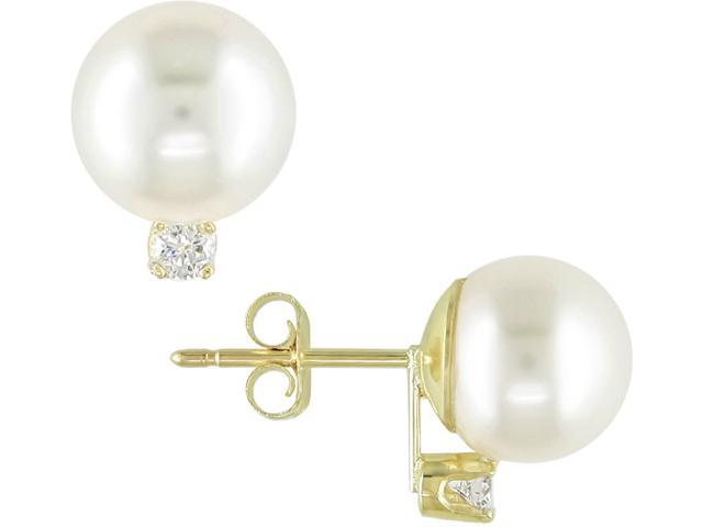 14k Yellow Gold 1/10 Carat Diamond and 8.5-9mm Cultured Pearl Earrings