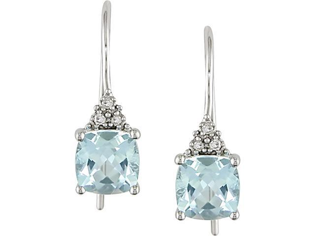 10k White Gold 2 1/2 Carat Sky Blue Topaz and Diamond Hook Earrings