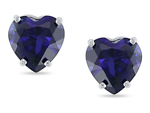 10K White Gold Created Sapphire Heart Studs