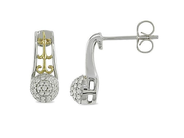 1/4 ct.t.w. Diamond Earrings in 10k Yellow Gold and Silver