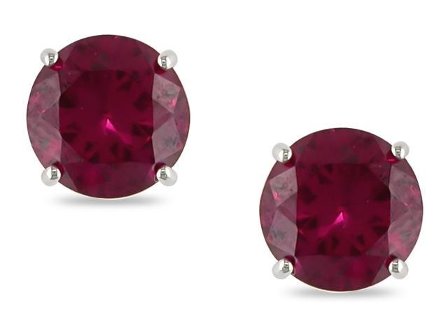 10KW 2.00 ct  Rd Created Ruby Solitaire Earrings
