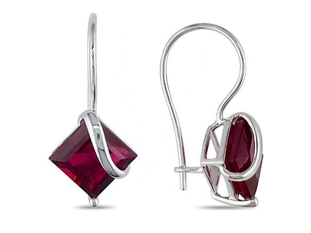 10K White Gold 3 1/2 Carat Created Ruby Earrings