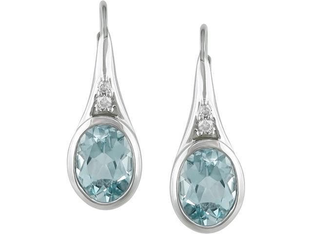 Sterling Silver Blue Topaz and Diamond Earrings