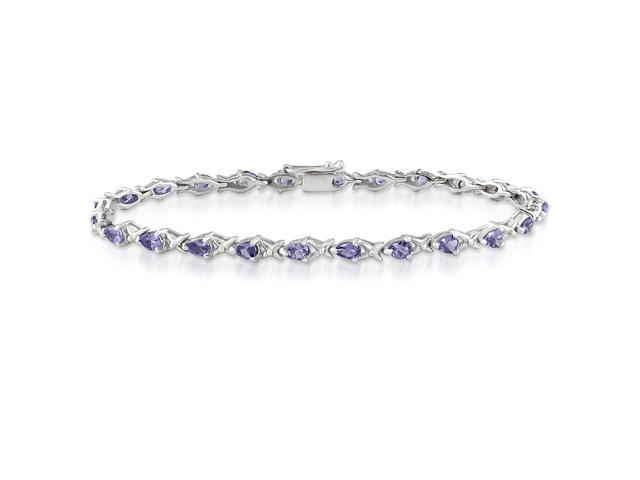 Amour Collections Sterling Silver 4-1/4ct TGW Tanzanite Bracelet