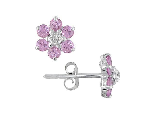 10K White Gold .01 ctw Diamond and Pink Sapphire Flower Earrings
