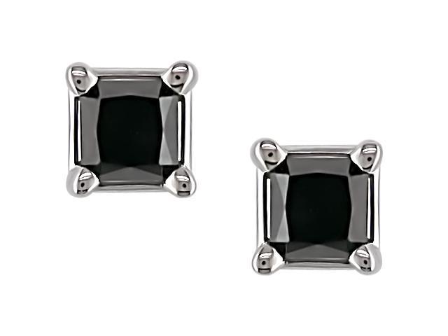 14K White Gold 3/4 ctw Black Diamond Solitaire Earrings