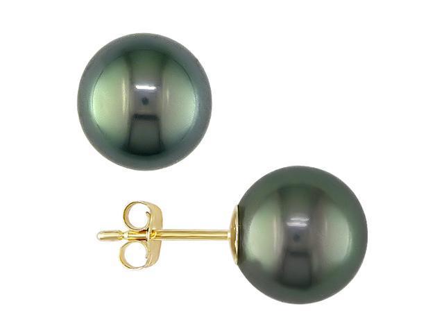 14K Yellow Gold 9-10mm Black Tahitian Pearl Earrings
