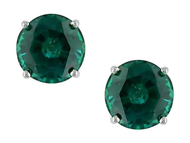 10K White Gold 1 3/5 Carat Round Created Emerald Solitaire Earrings