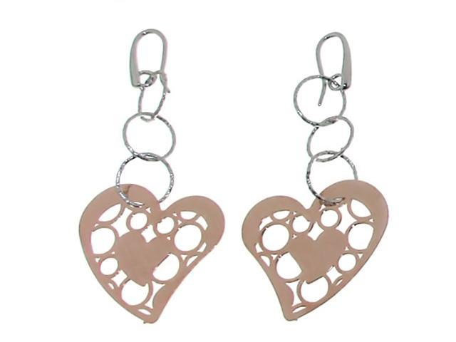 Sterling Silver Italian Heart Scroll Dangle Earrings