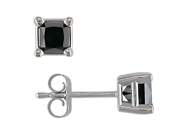 14K White Gold 1/2 ctw Black Diamond Solitaire Earrings