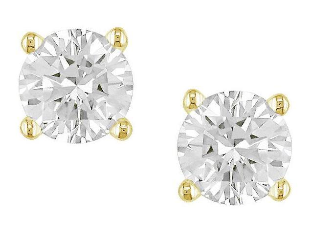 14K Yellow Gold 3/4 ctw Diamond Solitaire Earrings