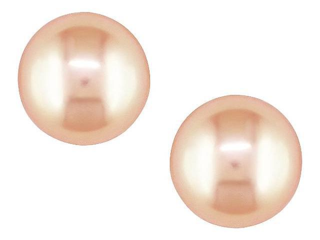 10K Yellow Gold 6mm Pink Cultured Freshwater Pearl Stud Earrings