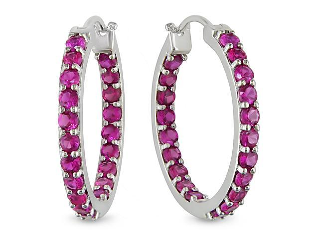 4 ct.t.w. Ruby Hoop Earrings in Silver